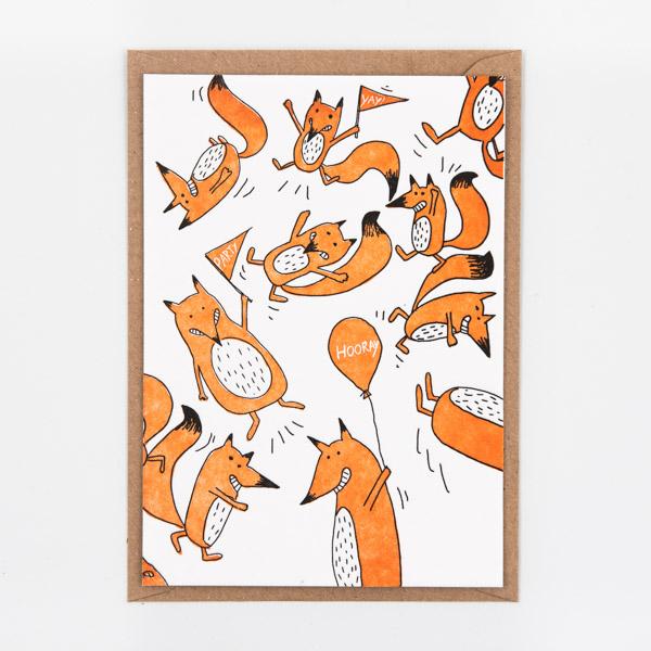 studio flash, fox, party, letterpress